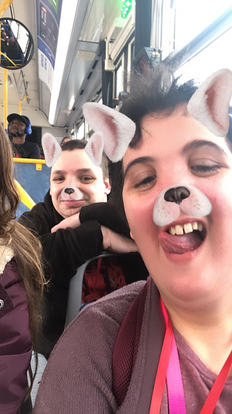 Goofing around on the bus!